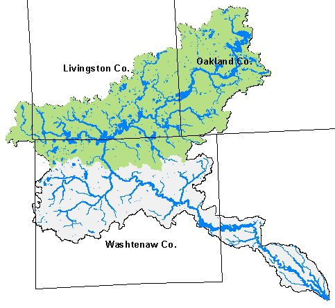 Map of Huron River Watershed with Upper Huron in green.