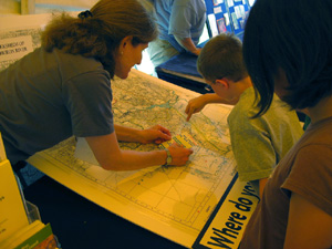 Laura Rubin Shows Student the Huron River