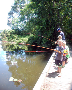 Kids fishing at Huron River Day in 2008.
