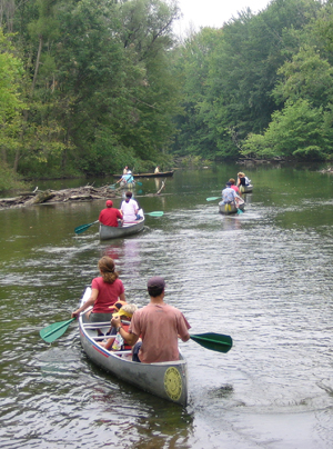 "Paddlers on the Huron's ""scenic river"" section."