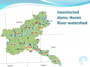 Map of inventoried dams in the Huron River watershed