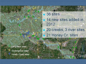 Water quality monitoring sites in 2012