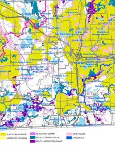 Potential areas of endangered ecosystems in Livingston County.