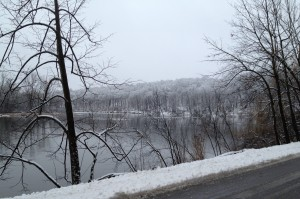 Slushy but beautiful, coming around the bend at Barton Pond.
