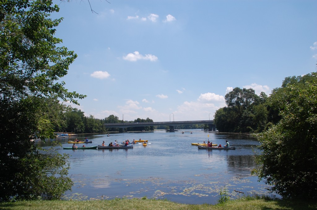 Kayakers explore Gallup Park during Huron River Day