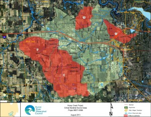 Target areas for reducing bacteria contamination in Honey Creek