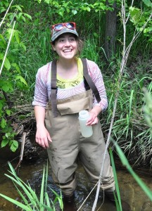 HRWC intern Gianna Petito sampling at a Norton Creek site.
