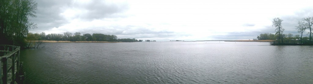 Panoramic view east at the Huron River delta
