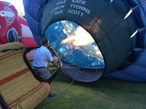 Pilot Scott Lorenz filling the balloon
