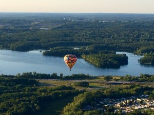 "Bit of a nice view, yes? Kent Lake from our balloon, with a companion balloon nicely providing the ""money shot."""