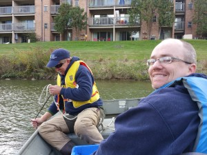 Ric and Paul sampling sediments for PAHs