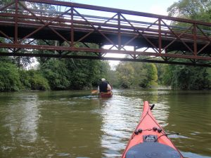 Paddling under the B2B non-motorized bridge in Dexter-Huron Metropark