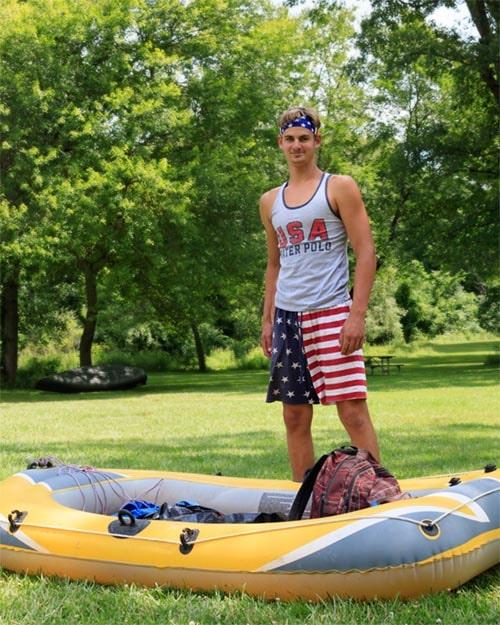 Tony Golin and his raft at Hudson Mills Metropark