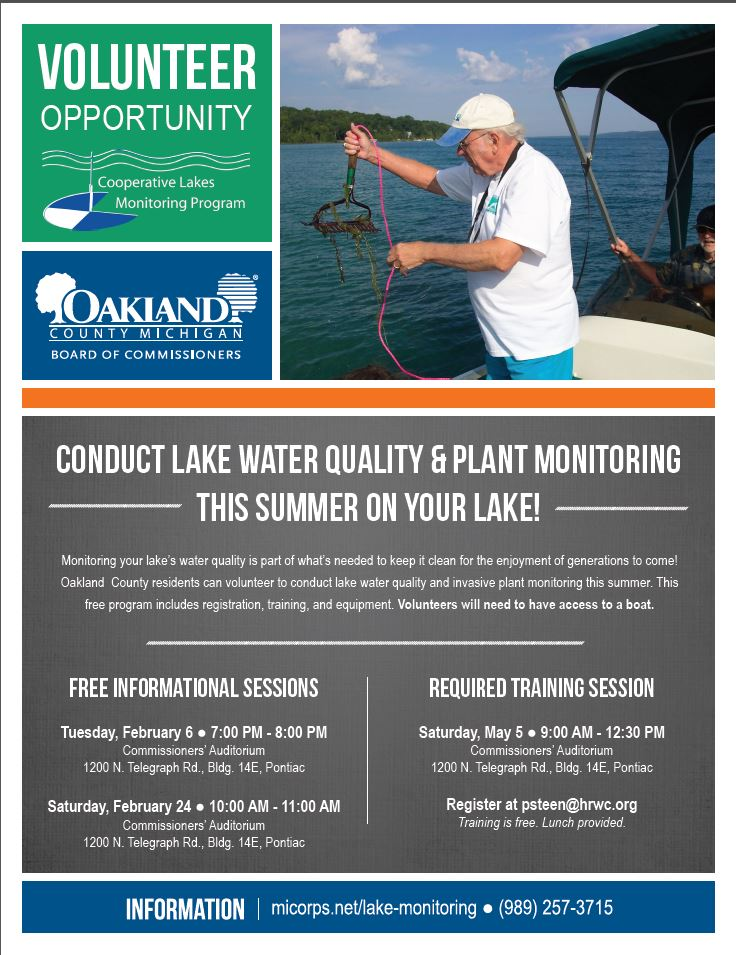 Flier containing Oakland County Healthy Lakes Initiative Details