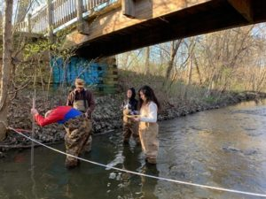 Four chemistry and flow monitoring volunteers wade in Mallets Creek to collect flow measurements