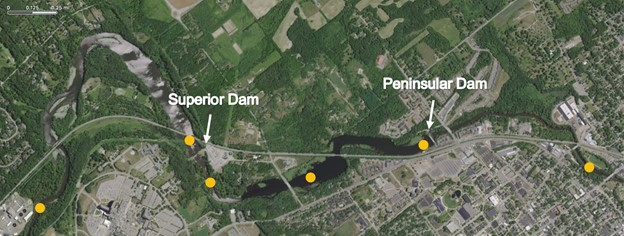 Map of methane sampling sites near Pen Dam and Superior Dam on the Huron River.