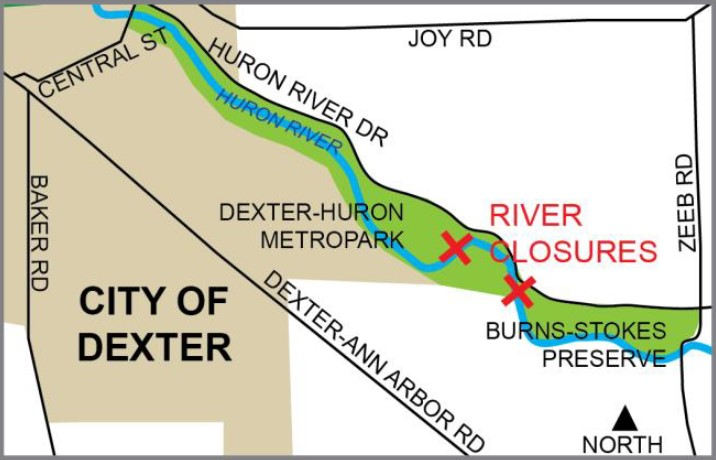 Map of Dexter-Huron Metropark river closures