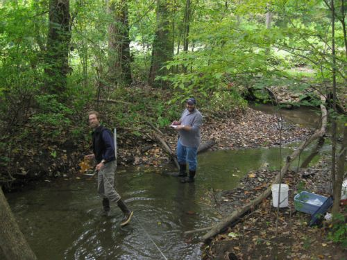 Jeff and Nate sampling Woods Creek