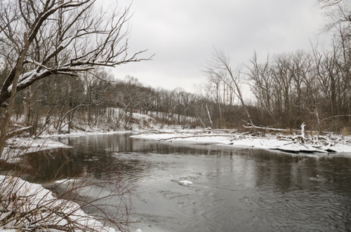 A beautiful Huron River, where it crosses Zeeb Road. credit: John Lloyd