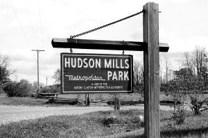 A photo from the 1930s of the original sign at Hudson Mills Metropark