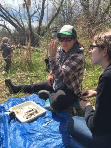 river roundup collectors examining.