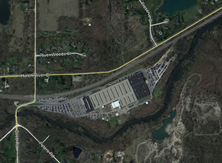 A satellite image showing the contaminated former Chrysler manufacturing site in Scio Township.